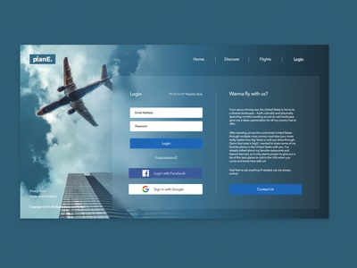Travel Web Application Login Page | Daily Ui