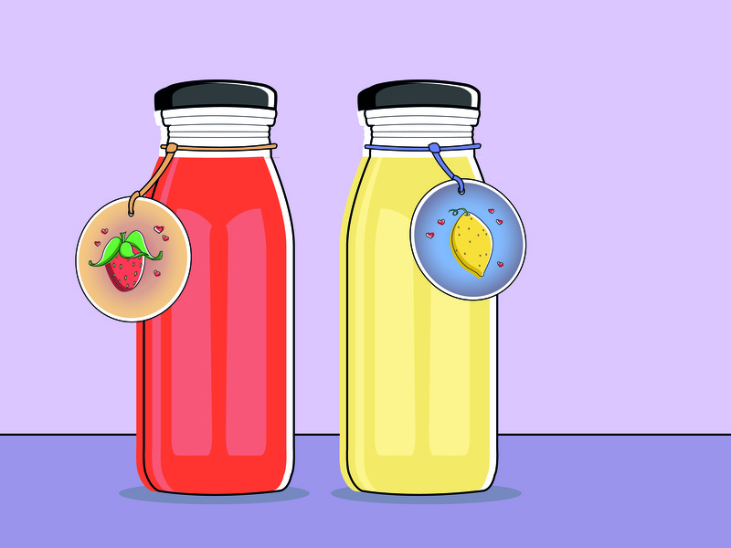 Homemade Strawberry - Lemon Juice Illustration bottles labels juice lemon strawberry illustration