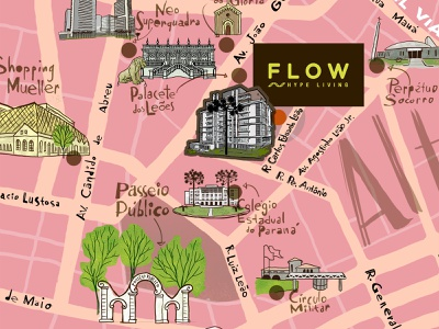 Mapa Flow drawing curitiba city map brazil map illustration