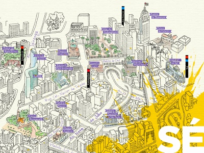 Sé brazil sao paulo illustrated map drawing city map map illustration
