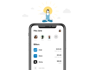 All your house bill accounts in one place. splitting bills payments fintech mobile landing page house illustration clouds relax relaxation meditation housemates house