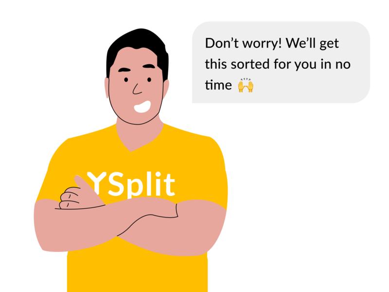 YSplit - 24/7 Concierge support support web mascot illustration