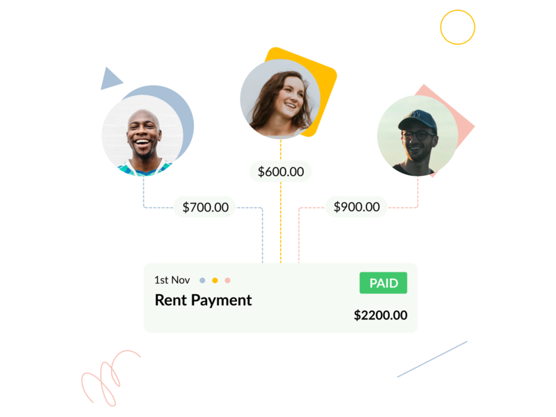 Unequally splitting your rent fintech payments bills groups housemates friends mobile apps rent landing design landing page brand illustration