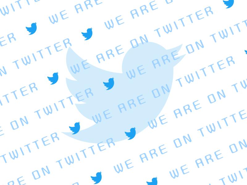 We are on Twitter!! followers follow tweet cute font google fonts brand design brand twitter