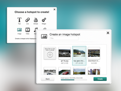 Media Item Selection media thumbnails ux design library interface modals