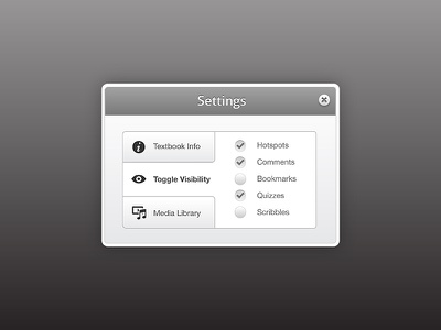 Modal with tabs and checkboxes modal vertical tabs checkboxes fancy squishy greyscale