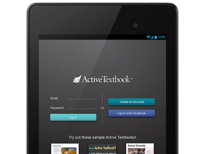 Android Active Textbook Login Screen Mockup android login sign in e-reader e-book library