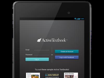 Android Active Textbook Login Screen Mockup