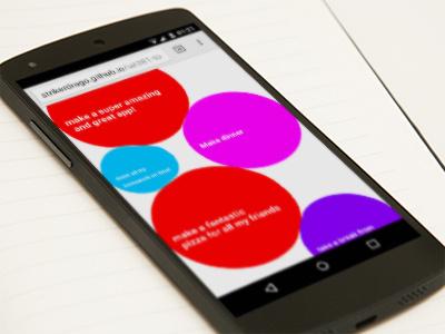 Bubble To-Do List Web App bubbles colours web app pinch touch gesture experimental ux to-do list web app
