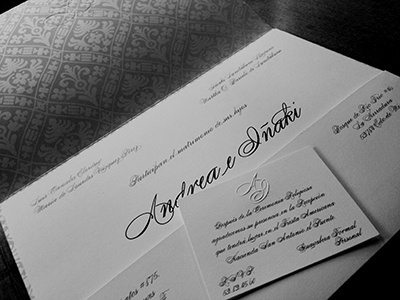 Invitacion Boda AI wedding monogram emboss print invitation silk-screen print texture