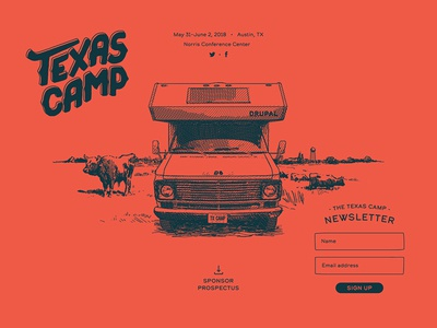 Texas Camp Splash web design camper sketch illustration branding type splash page event drupal camp texas