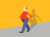 Walking Man with shadow illustration
