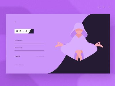 Relax Tools login v2 yoga web tools relaxation relax purple monk minimalist meditation login chill app