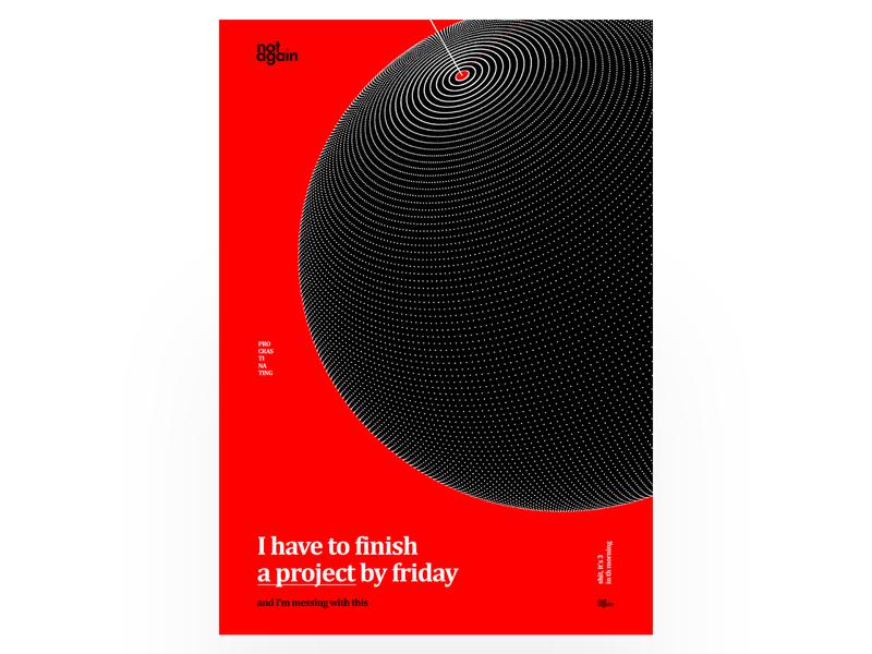 Procrastination white typography vector design illustration minimal planet procrastination poster red