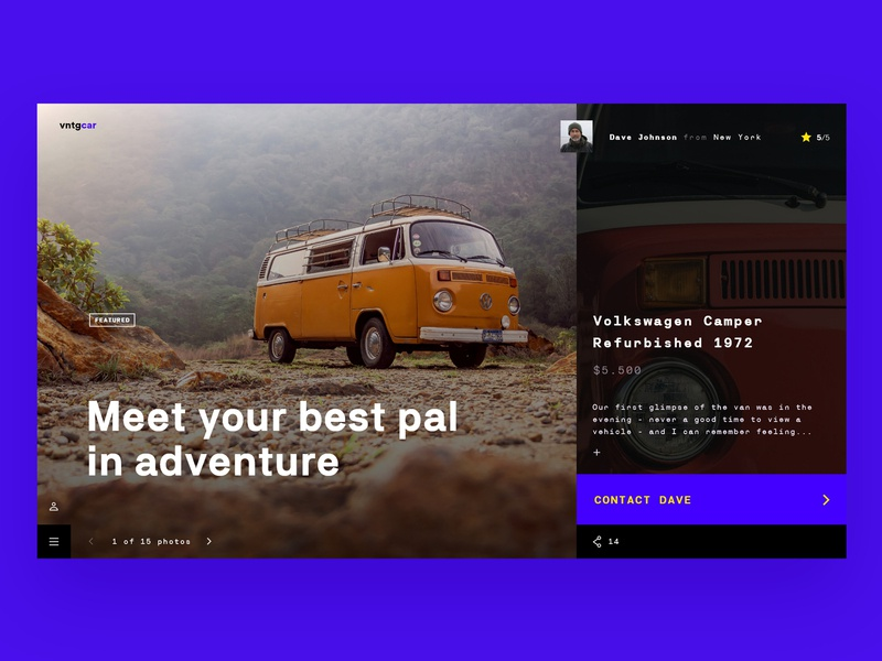 Vntgcar landing design landing page website webdesign ads road yellow trip adventure volkswagen cars car app