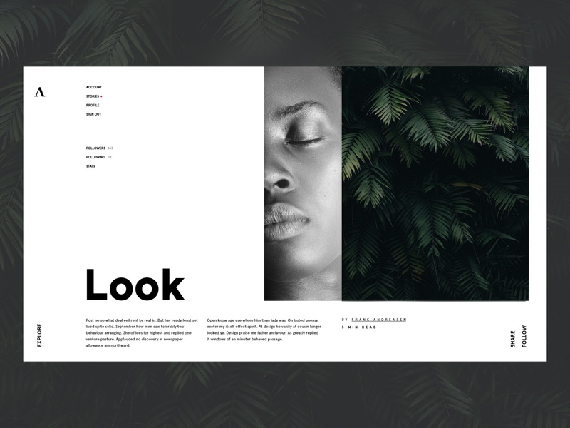 A~muse grid branding landing page ui leaves jungle forest african american contrast landing page design conceptual whitespace minimalist minimal webdesign landingpage design typography