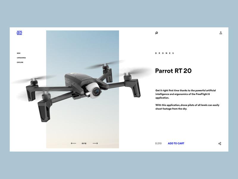 Go Gadget store whitespace web layout product ecommerce webshop webdesign clear blue minimal minimalist drone