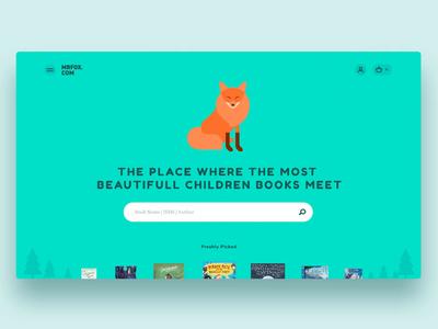 Mr Fox Bookstore identity branding minimal shopping children bookstore shop landingpage website typography illustration web design