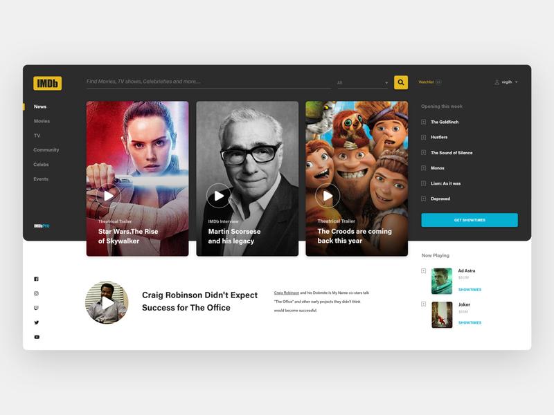 IMDb Concept redesign desktop app landingpage concept uxui ux movie imdb clean webdesign