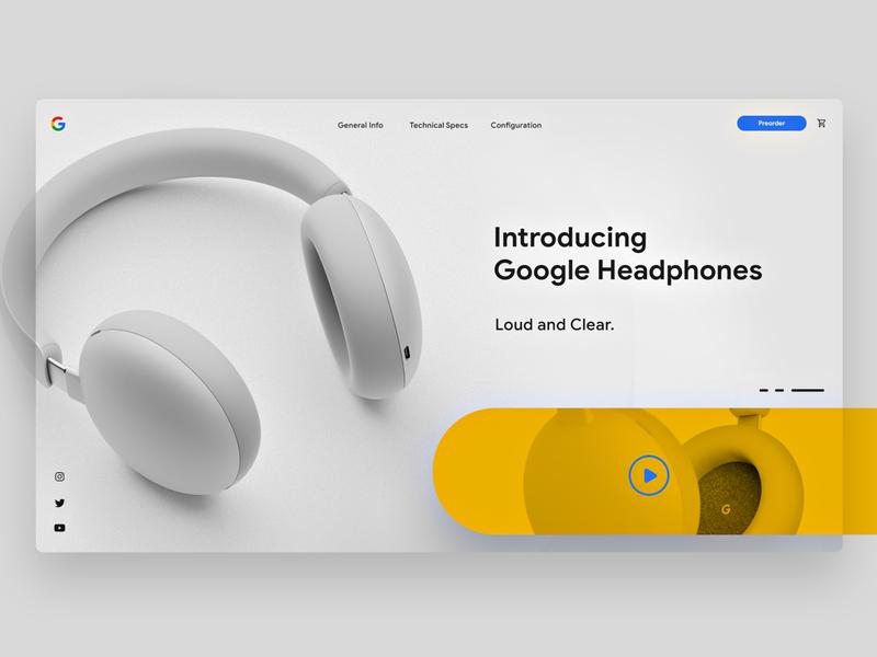 Google Headphones ui typography minimal headphones product web clean ui clean design clean