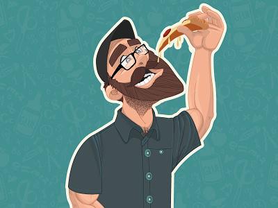 Cy Avatar glasses beard pizza persona illustration character branding vector avatar
