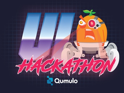 Grumpquat Hackathon robot 80s illustrator mascot