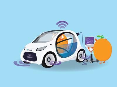 Autonomous Vehicle illustrator mascot vehicle autonomous automobile car