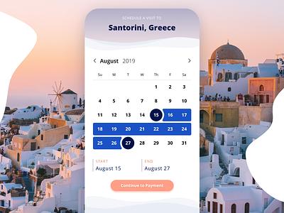 Travel App Rebound dates datepicker calendar app calendar design travel app travel design ui
