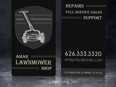 Amar Lawnmower Shop - Business Cards graphic design business card design print design branding