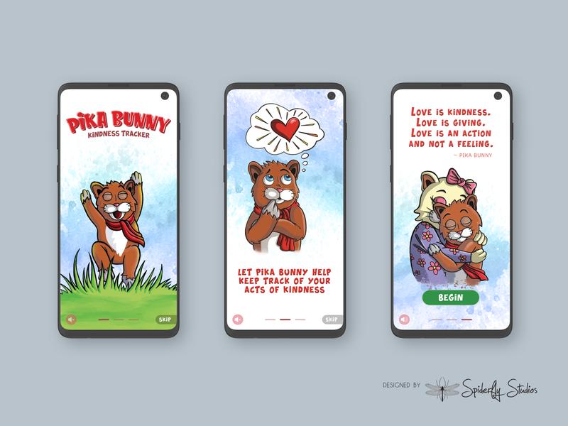 Pika Bunny Kindness Tracker - Onboarding Screens app ui app ux graphic design app design onboarding onboarding screen