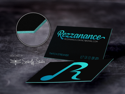 Rezzanance Business Cards v2 gamer business card design print design graphic design branding