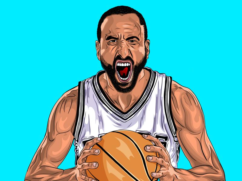 Manu Ginobili - Cartoon Character spurs nba basketball player basketball adobe draw cartoon design cartooning cartoon character cartoons