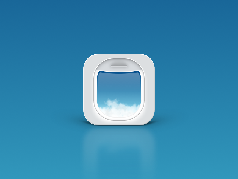 Let's fly somewhere... plane window sky design ui fly flight travel iphone ios icon app
