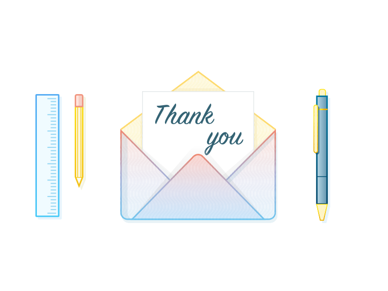 Thank You banking finance sketch pen ruler pencil ui mail letter ios illustration thank you
