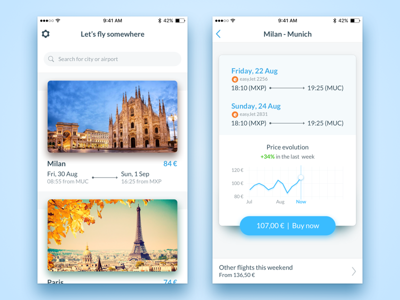 Let's fly somewhere travel design ui sketch fly flight iphone ios app