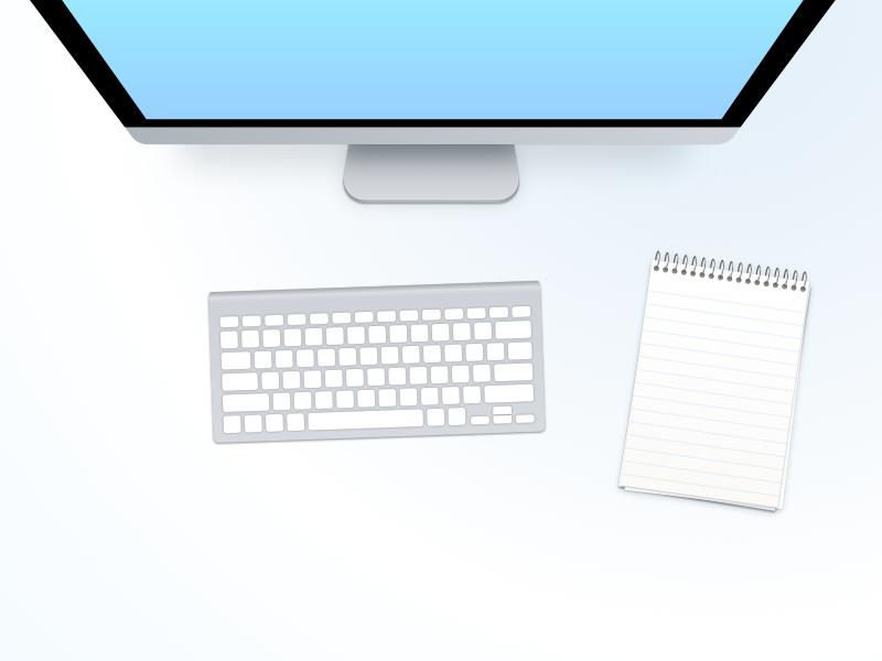 Desk image ui note work desk keyboard apple imac design illustration