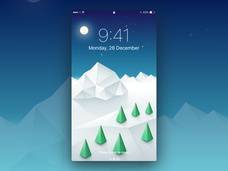 Winter Wallpaper snow screensaver ui sketch apple moon tree mountain illustration iphone wallpaper winter