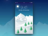Winter Wallpaper snow screensaver ui sketch apple moon tree mountain illustration iphone wallpaper winter