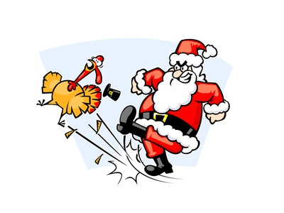 Santa Kicks a Turkey