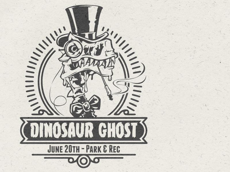 dinosaur ghost flyer poster design top hat skeleton ghost dinosaur