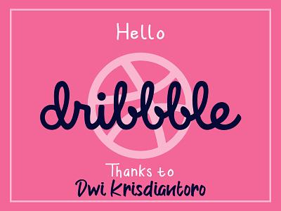 hello dribbble lettering type illustrator flat typography branding vector logo design illustration