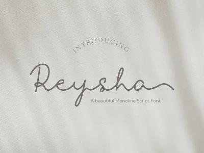 Reysha Monoline Font alternates signature font script monoline ligatures handwritten font handwritten handmade handlettering logo branding