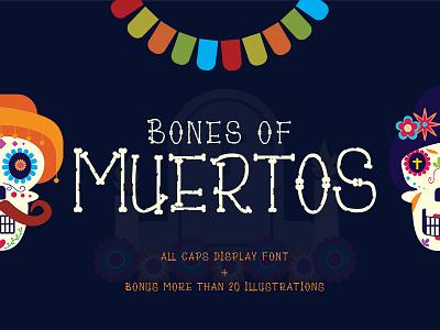 Bones of Muertos Font cracked bones dia de los muertos dia de muertos typography vector illustration ligatures display font handwritten handmade handlettering logo branding