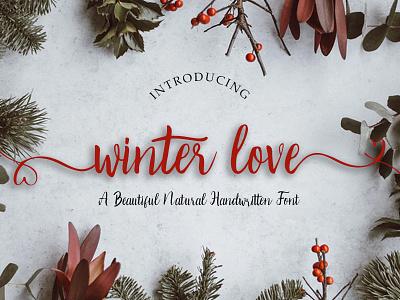 Winter Love Handwritten Font love winter newyear christmas typography signature font script display font handwritten font handlettering ligatures handwritten handmade