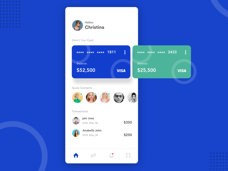 Payment App Ui ui deisgn ux typogaphy contact android ios user credit card debit card blue app  design ui  ux design dribbble payment app payment
