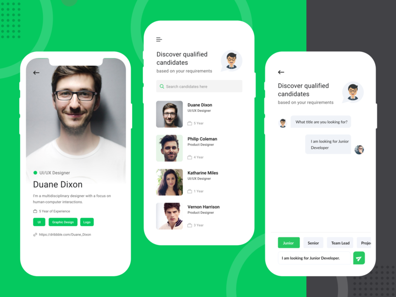 Job Search android app ui  ux landing page ui ios user website chat app chat bot dashboard design android dribbble typography ux ui deisgn job search