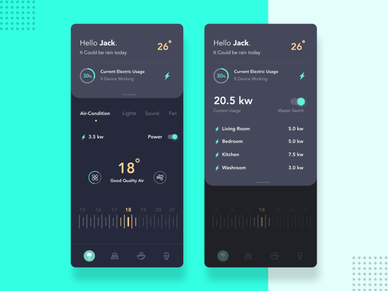 Smart Home App button ux dribbble dailyui design user interface temperature weather livingroom ios android smarthome