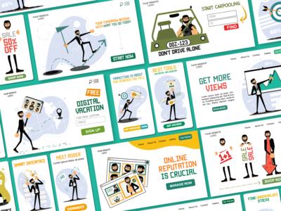 Roger Illustrations Pack uiux business man man vector illustration web design web illustrations illustrator web pack download flat character design ai vector illustrations character illustration