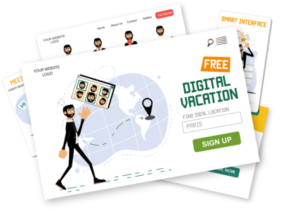 Roger illustrations pack [example screens] male man virtual tour eps ui svg web illustrations web design web pack ai download character design character illustration vector flat