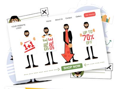 Roger for Sale [ Web ] illustrations web design web illustrations sale web man male character male eps svg ui pack ai vector download character design character illustration flat